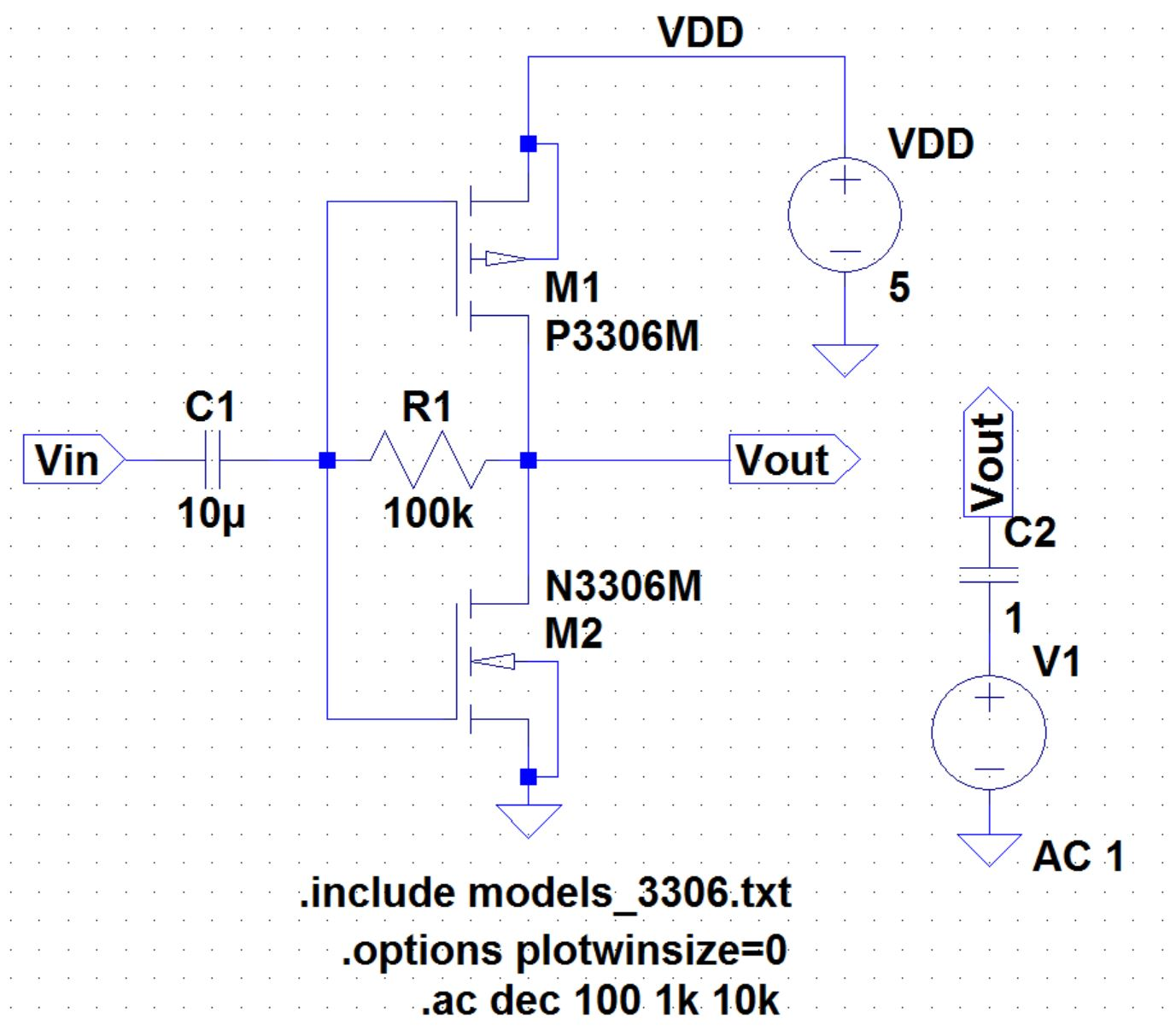 Lab 1 Ee 421l Spring 2015 This Pushpull Amplifier Uses A Voltage Follower And Mosfet Biasing Push Pull Spice Schematic