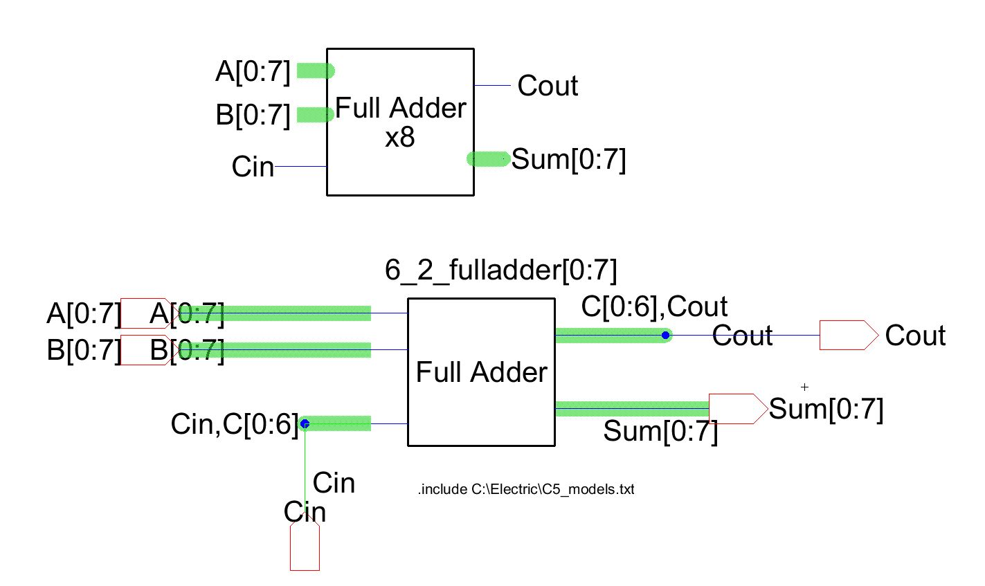Lab 8 Bit Adder Logic Diagram Next This Circuit Was Used In The Creation Of An Array Schematic For Full