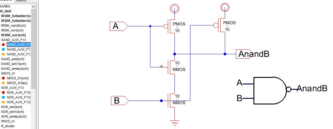 Lab6 - Designing NAND, NOR, and XOR gates for use to design ... Schematic Diagram Of And Gate on 74ls00 nand gate diagram, is is not diagram, cmos diagram,