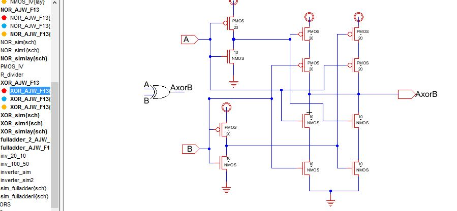lab  designing nand, nor, and xor gates for use to design full, circuit diagram
