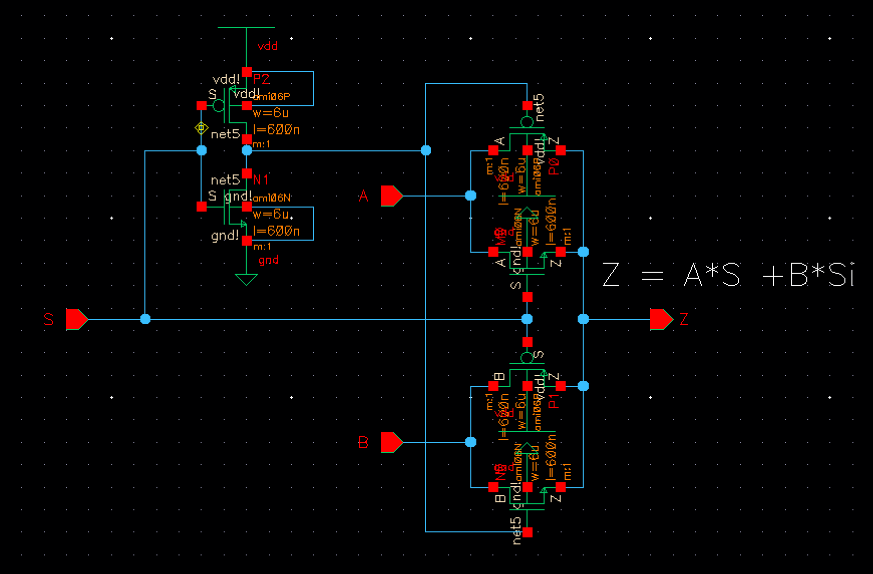 Jonathan Youngs Ee 421 Digital Electronics Lab Thus A 1bit Full Adder Can Be Realized By The Following Circuit Figure 50 This Image Is Schematic Of 2 To 1 Mux With Mosfets