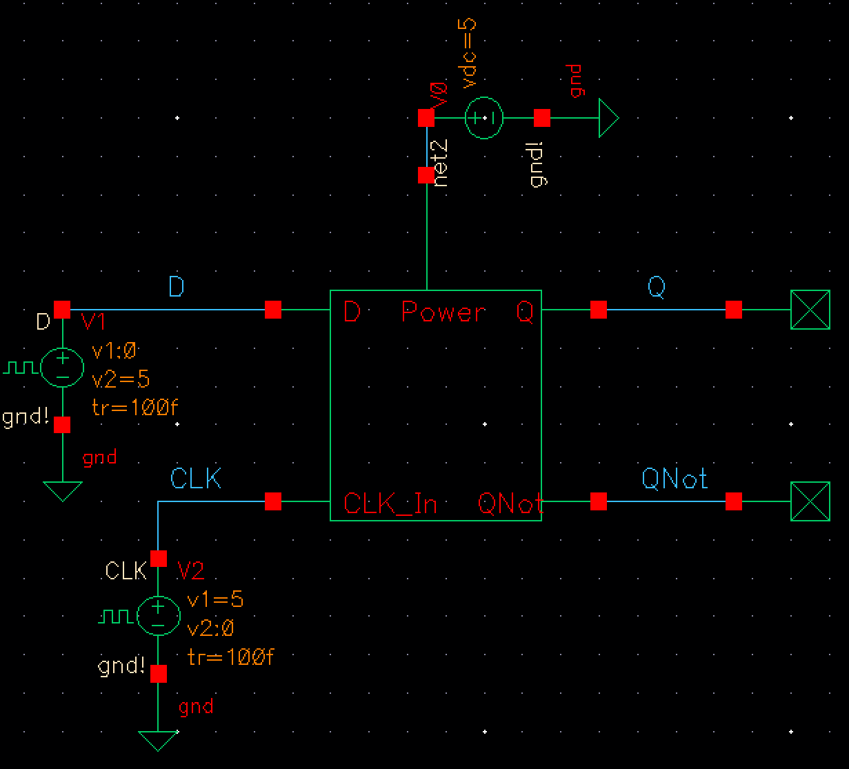 Jonathan Youngs Ee 421 Digital Electronics Lab Project Inverter Oscillator Circuit Simulator Figure 7 This Is The Simulation Schematic Used To Verify Device Functionality Note Vdd Set 5 Volts Which For Cmos Devices