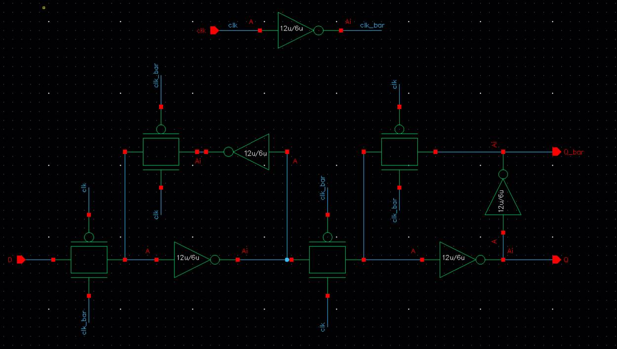 Lab Flip Flop Circuit Diagram As Seen Above Clk Bar Was Produced Within The So Only 4 Pins Are D Q And I Created A Symbol For Schematic Shown Below