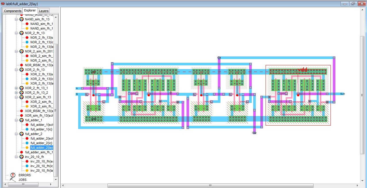 Lab Full Adder Diagram 6 Adder2 Layout Irsim Schematic